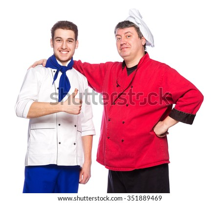 Team of two men, chefs, cooks isolated on white background - stock photo