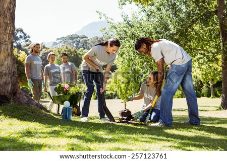 Team of volunteers gardening together on a sunny day - stock photo