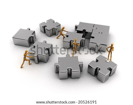 Team of wooden mannequins working together to solve puzzle - stock photo