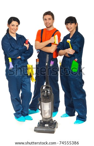 Team of workers people in a row offering cleaning service  isolated on white background - stock photo