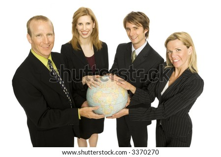 Team of workers with globe