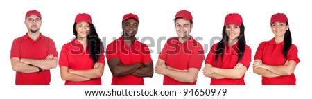 Team of workers with red uniform isolated over white background
