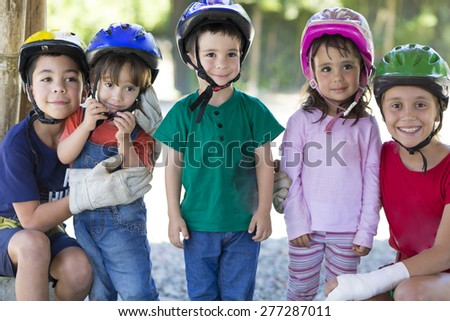 Team of young Adventures Enjoying Outdoors - stock photo