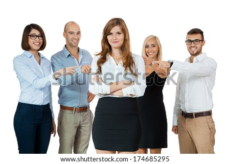 team of young business people mobbing bullying collegue isolated on white - stock photo