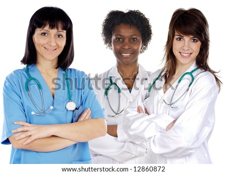 Team of young doctors a over white background - stock photo