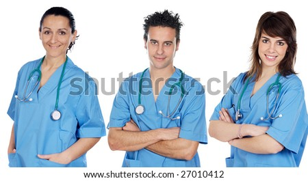 Team of young doctors with blue dressing gown
