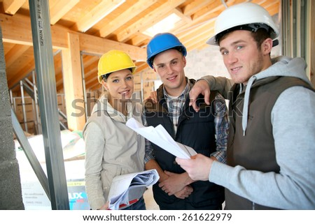 Team of young people in professional training  - stock photo