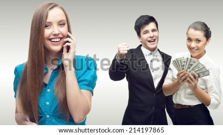 team of young successful business people standing over gray background