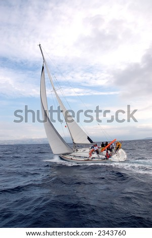Team on a sailing cruise on Adriatic sea, Croatia - stock photo