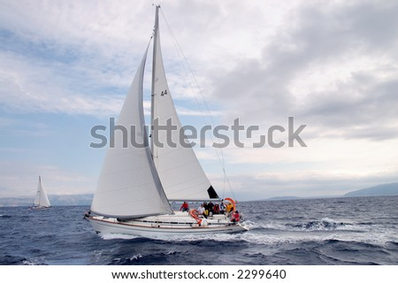 Team on a sailing cruise on Adriatic sea in Croatia. - stock photo
