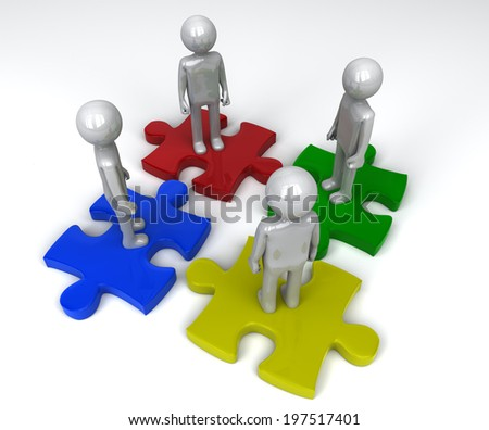 Team on separate jigsaw puzzle pieces - stock photo