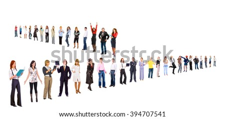 Team over White Isolated Groups  - stock photo