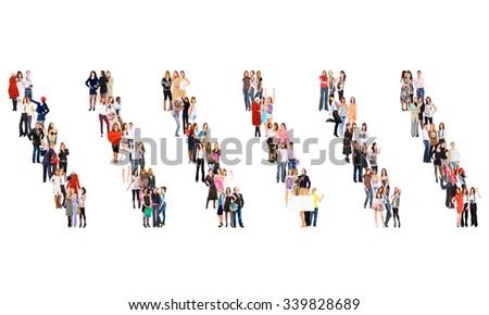 Team over White People Diversity  - stock photo