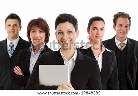 Team photo of happy business people, white background. - stock photo