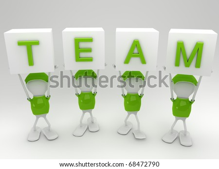 Team players working together side by side - stock photo