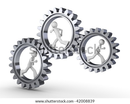 Team power (three men walking inside gears) - stock photo