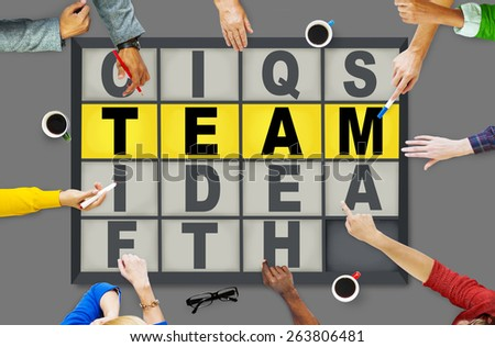 Team Puzzle Problem Solving Corporate Connection Concept - stock photo