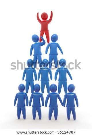 Team pyramid - stock photo