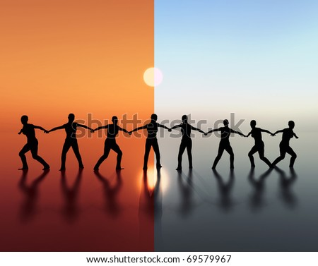 Team spirit, team work and leadership are important not only in difficult times. - stock photo