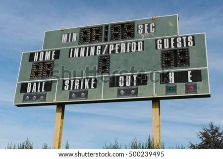 Team sports scoreboard against a cloudy sky, Sunnyvale, California