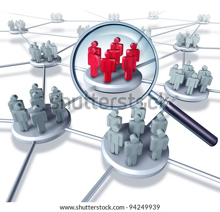 Team Success communication network with the best selected group in red as business people working in partnership as a connected networking mobile technology exchanging services together to succeed. - stock photo