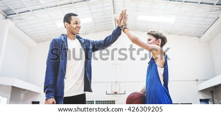 Team Teamwork Basketball Training Game Concept