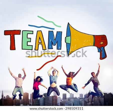 Team Teamwork Corporate Partnership Collaboration Concept - stock photo