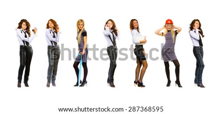 Team Together Isolated over White  - stock photo