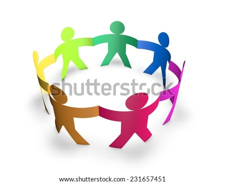 Team, togetherness and multiplicity concept with 3d colorful people in ring isolated on white background.