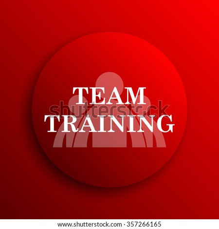 Team training icon. Internet button on white background.