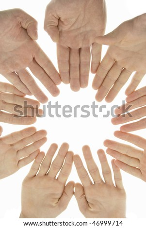 team unity hands like circle - stock photo