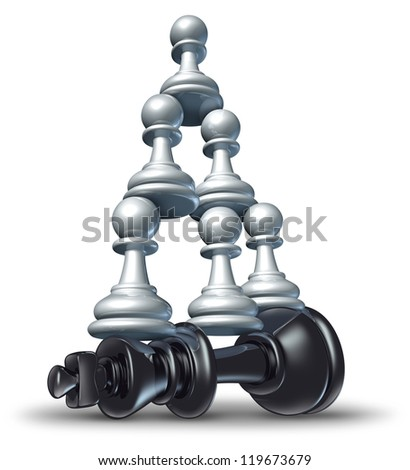 Team victory as a business strategy chess symbol of changing the balance of power by teaming up in partnership and collaborating together to defeat powerful competitor. - stock photo