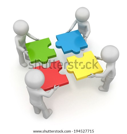 Team with the puzzles. 3d image isolated on white background - stock photo