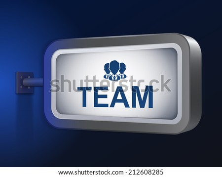 team word on billboard over blue background - stock photo