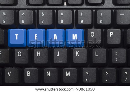 team word on blue and black keyboard button