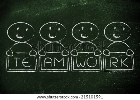 team work and workforce, funny characters holding sign