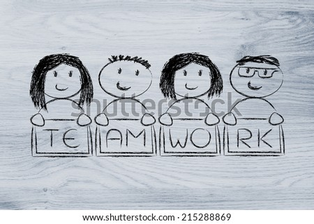 team work and workforce, funny team with men and women