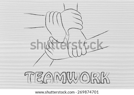 team work and workforce, hands holding each other