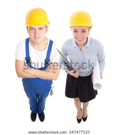 team work concept - handsome man in builder's and beautiful woman architect  isolated on white background - stock photo