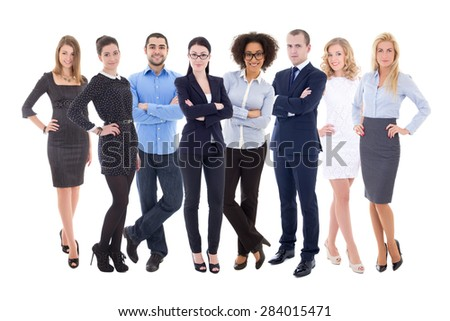 team work concept - large set of business people isolated on white background - stock photo
