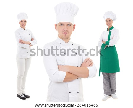 team work concept - two women and one man chefs isolated on white background - stock photo