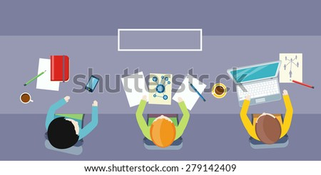 Team work coworking concept. Co-working item icons. Business meeting top view in flat design. Shared working environment. Combined effort, organized cooperation and working together. Raster version - stock photo