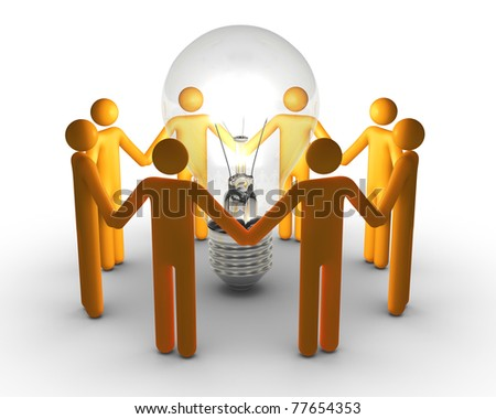 Team work for ideas (Isolated) - stock photo
