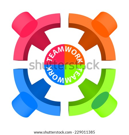 Team Work, Friendship, Partnership, Social Network Concept Design Template - stock photo