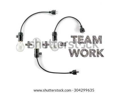 team work phrase and light bulb, hand writing, together solidarity  innovate - stock photo