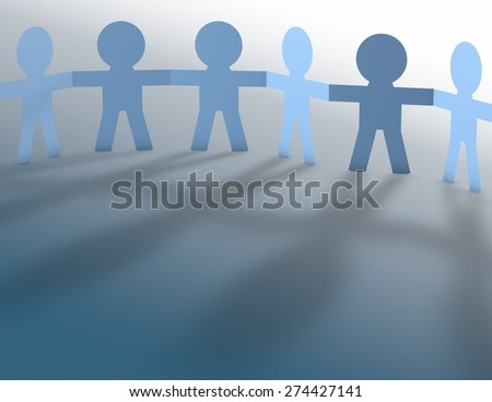 Team work spirit abstract concept with blue paper people and shadow, render illustration.