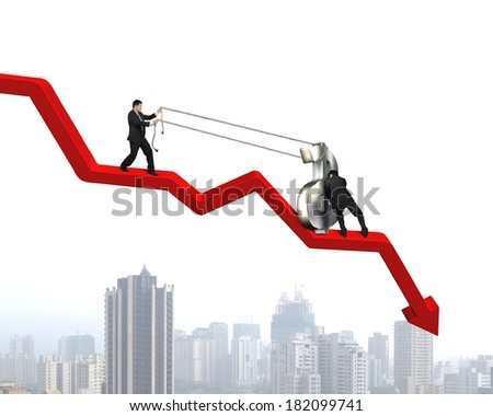 team work to move money symbol up on red arrow city view background - stock photo