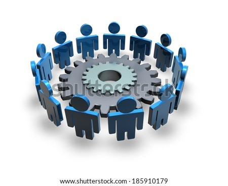 team working, cooperation and connection abstract concept with 3d blue people and gear, isolated illustration - stock photo