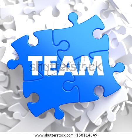 Team Written on Blue Puzzle Pieces. Business Concept.  3D Render. - stock photo