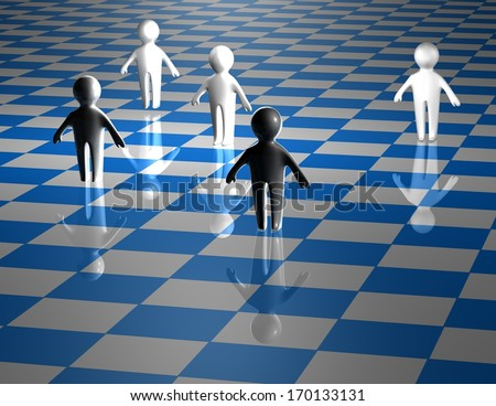 teamwork abstract concept with chessboard blue background - stock photo